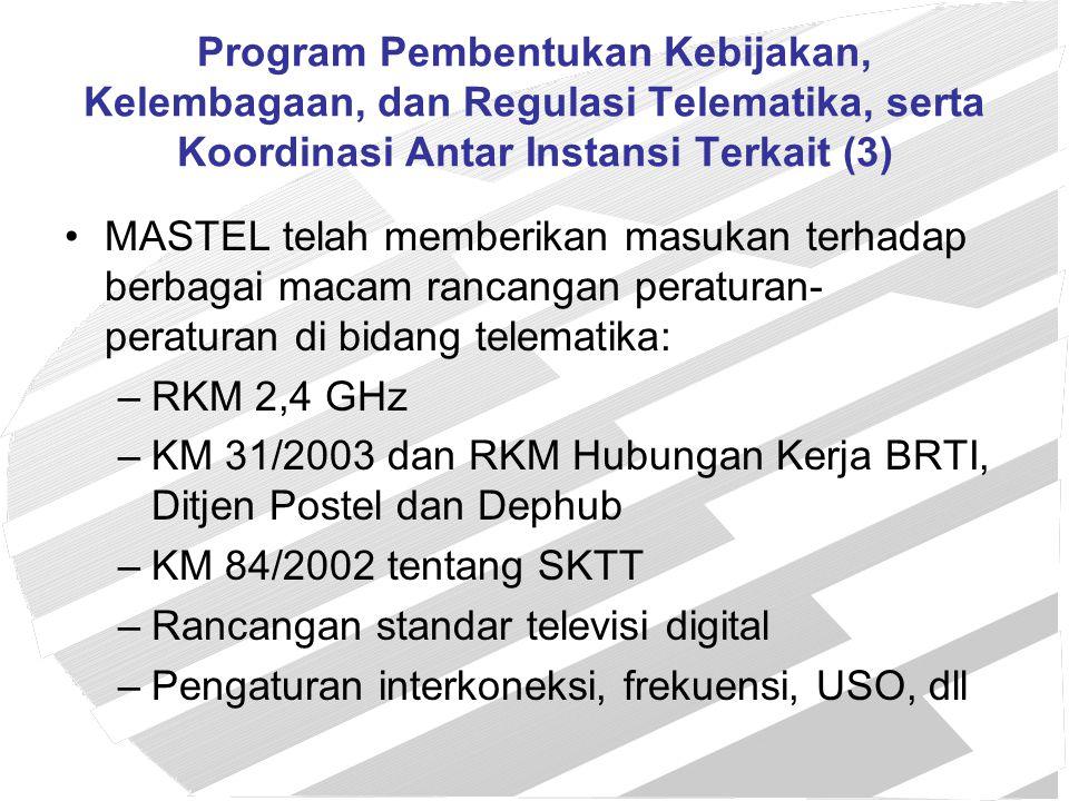 Laporan Keuangan MASTEL 2003 Kondisi keuangan MASTEL per 31 Desember 2003 adalah sebagai berikut: Kas dan bank Rp.