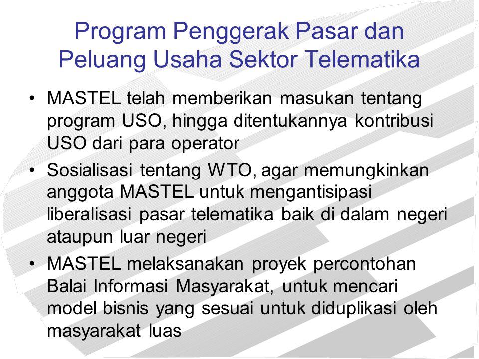 Rencana Program Kerja MASTEL 2004 Memberikan masukan tentang: –pengaturan spektrum frekuensi di Indonesia –pengaturan soal satelit (bekerjasama dengan ASSI) –program USO tahap 2 –pengaturan interkoneksi dan SKTT –next generation network –pengaturan kompetisi –Telekomunikasi generasi ke-3 (3G) –Rancangan PP Penyiaran –Fungsi dan wewenang tugas KPI dan KPI-D beserta struktur organisasinya Setelah dikaji dalam pokja-pokja.