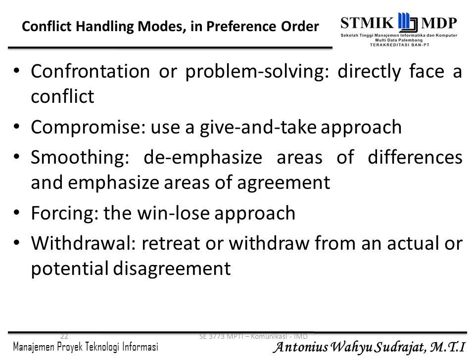 Manajemen Proyek Teknologi Informasi Antonius Wahyu Sudrajat, M.T.I 22SE 3773 MPTI – Komunikasi - IMD Conflict Handling Modes, in Preference Order Con