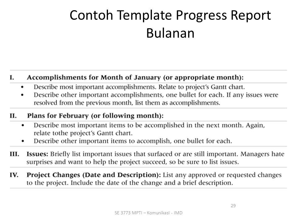 29 SE 3773 MPTI – Komunikasi - IMD Contoh Template Progress Report Bulanan