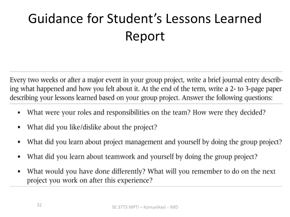 32 SE 3773 MPTI – Komunikasi - IMD Guidance for Student's Lessons Learned Report