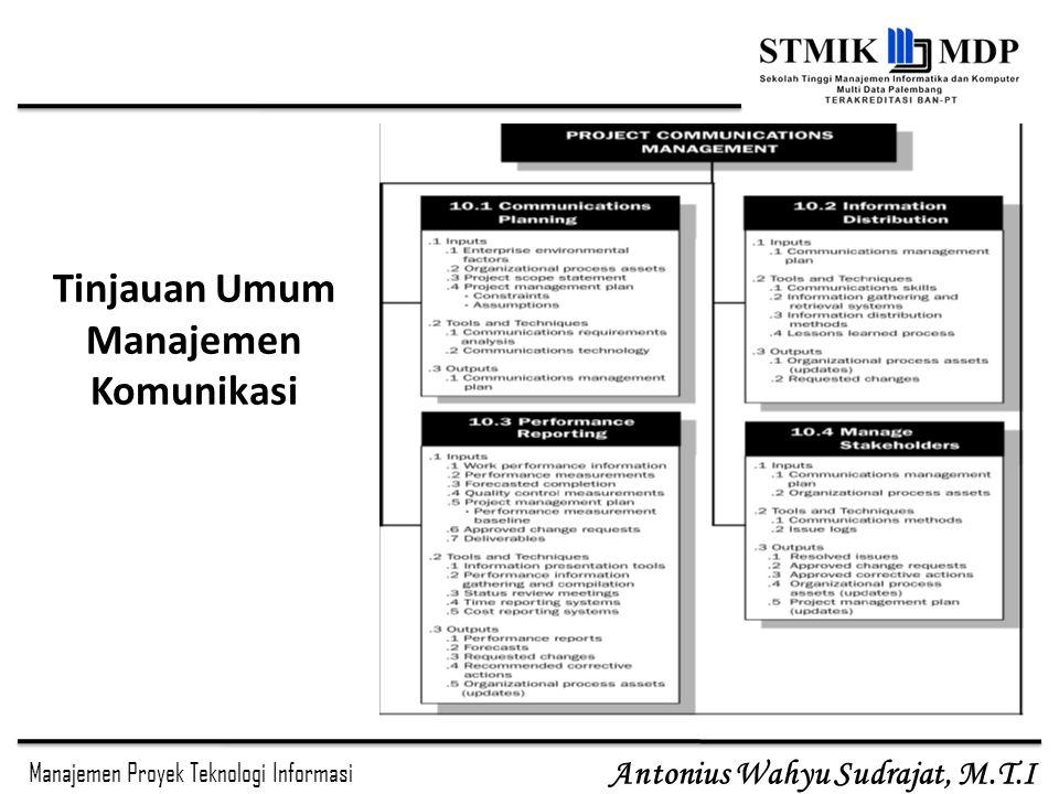 Manajemen Proyek Teknologi Informasi Antonius Wahyu Sudrajat, M.T.I SE 3773 MPTI - Komunikasi- IMD7 Perencanaan Komunikasi Merupakan proses yang sangat penting dalam proyek, mengingat seringnya kegagalan proyek terkait dengan kegagalan komunikasi Rencana manajemen komunikasi adalah dokumen yang berisi arahan/tuntunan cara berkomunikasi dalam suatu proyek