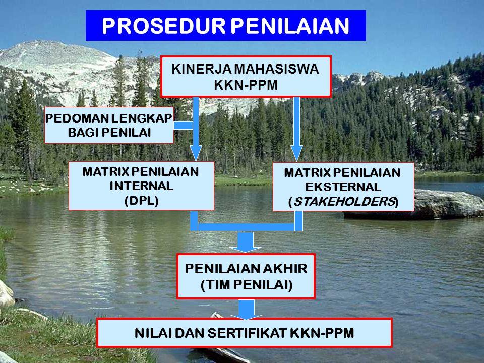 11 | Rembuk Nasional Depdiknas | 20. April 2015 Ditjen DIKTI KINERJA MAHASISWA KKN-PPM MATRIX PENILAIAN INTERNAL (DPL) MATRIX PENILAIAN EKSTERNAL (STA