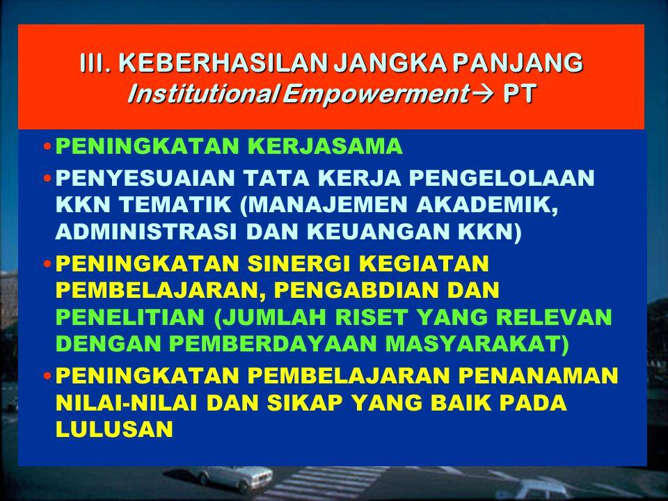 13 | Rembuk Nasional Depdiknas | 20. April 2015 Ditjen DIKTI III. KEBERHASILAN JANGKA PANJANG Institutional Empowerment  PT PENINGKATAN KERJASAMA PEN