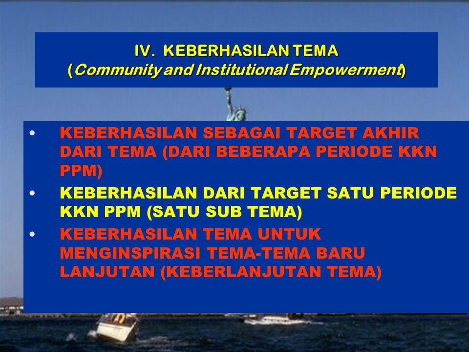 15 | Rembuk Nasional Depdiknas | 20. April 2015 Ditjen DIKTI IV. KEBERHASILAN TEMA (Community and Institutional Empowerment) KEBERHASILAN SEBAGAI TARG