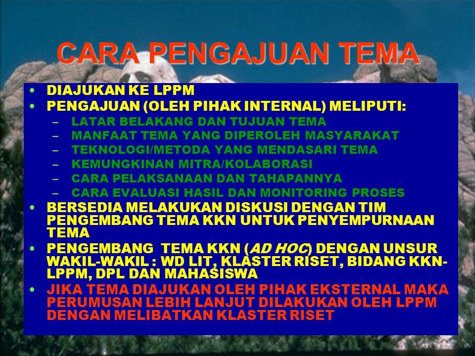 5 | Rembuk Nasional Depdiknas | 20. April 2015 Ditjen DIKTI CARA PENGAJUAN TEMA DIAJUKAN KE LPPM PENGAJUAN (OLEH PIHAK INTERNAL) MELIPUTI: – LATAR BEL