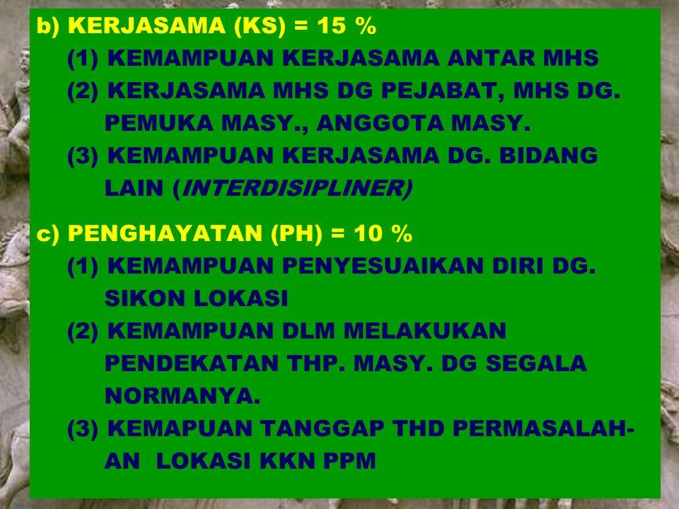 8 | Rembuk Nasional Depdiknas | 20. April 2015 Ditjen DIKTI b) KERJASAMA (KS) = 15 % (1) KEMAMPUAN KERJASAMA ANTAR MHS (2) KERJASAMA MHS DG PEJABAT, M