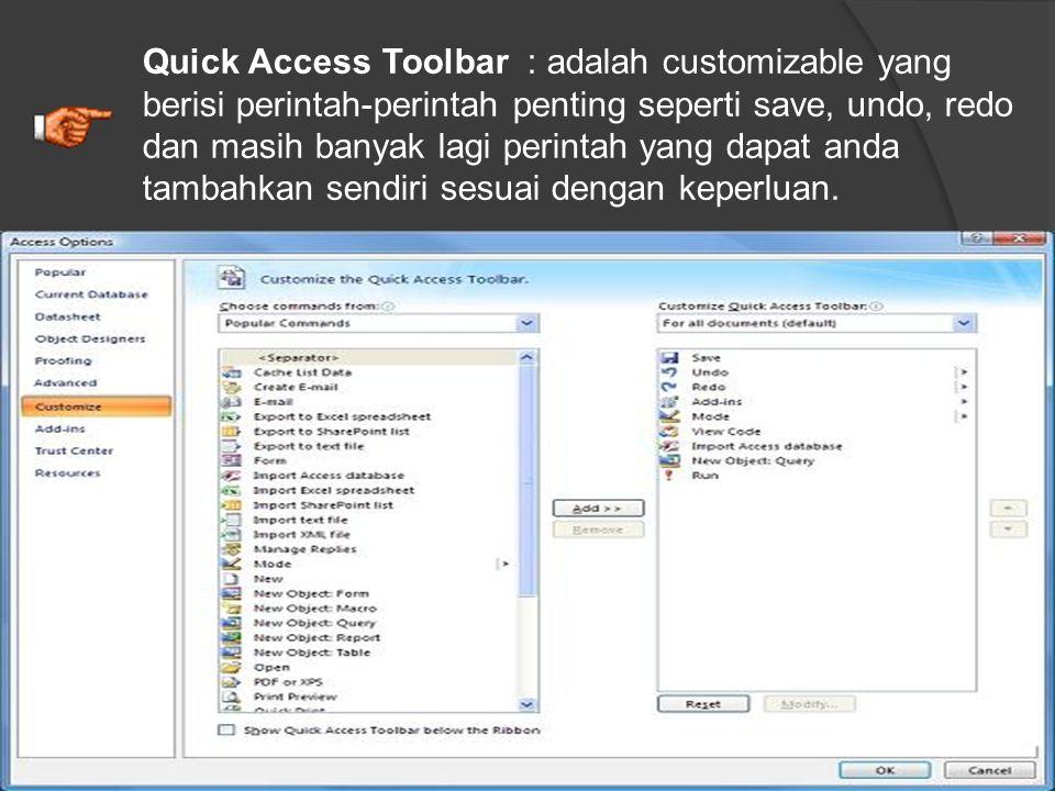 Office Button : adalah pengganti menu file yang biasa anda temukan pada versi sebelumnya