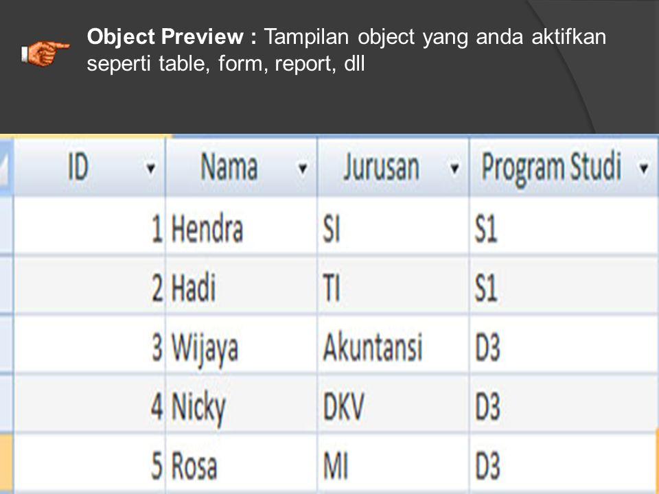 Database Object : merupakan objek-objek yang telah diaktifkan dan digunakan dalam sebuah database. Contohnya seperti : Table, Form, Report, Macro dll.