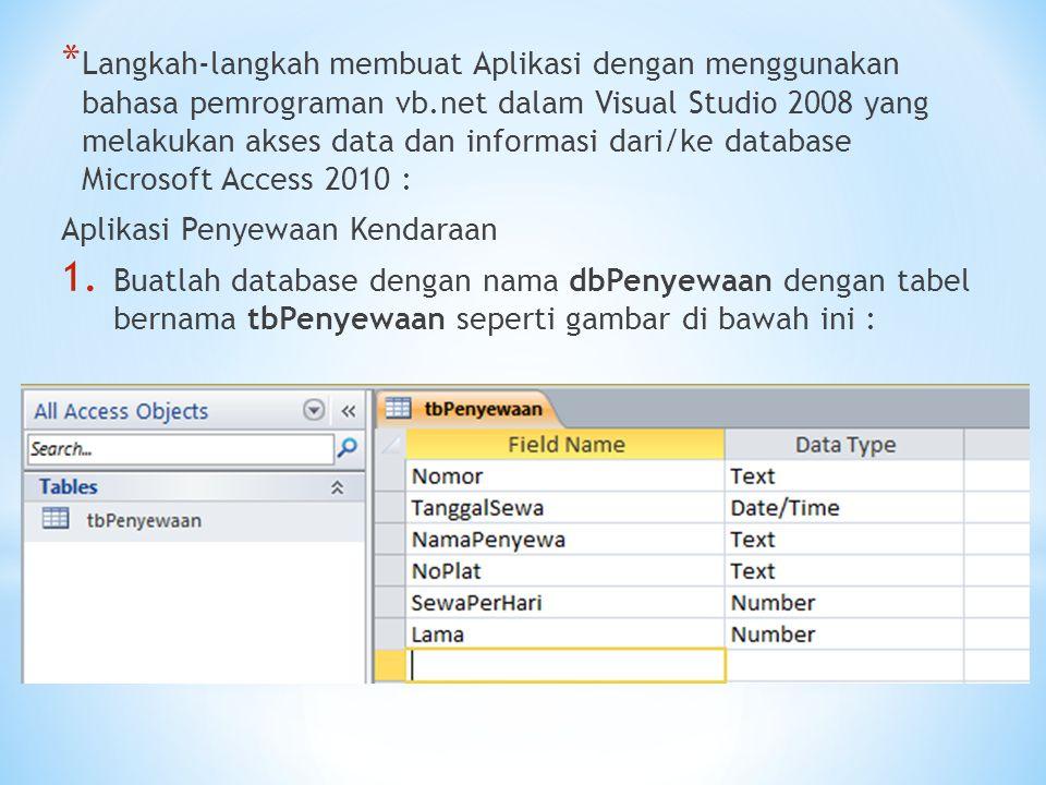 * Langkah-langkah membuat Aplikasi dengan menggunakan bahasa pemrograman vb.net dalam Visual Studio 2008 yang melakukan akses data dan informasi dari/