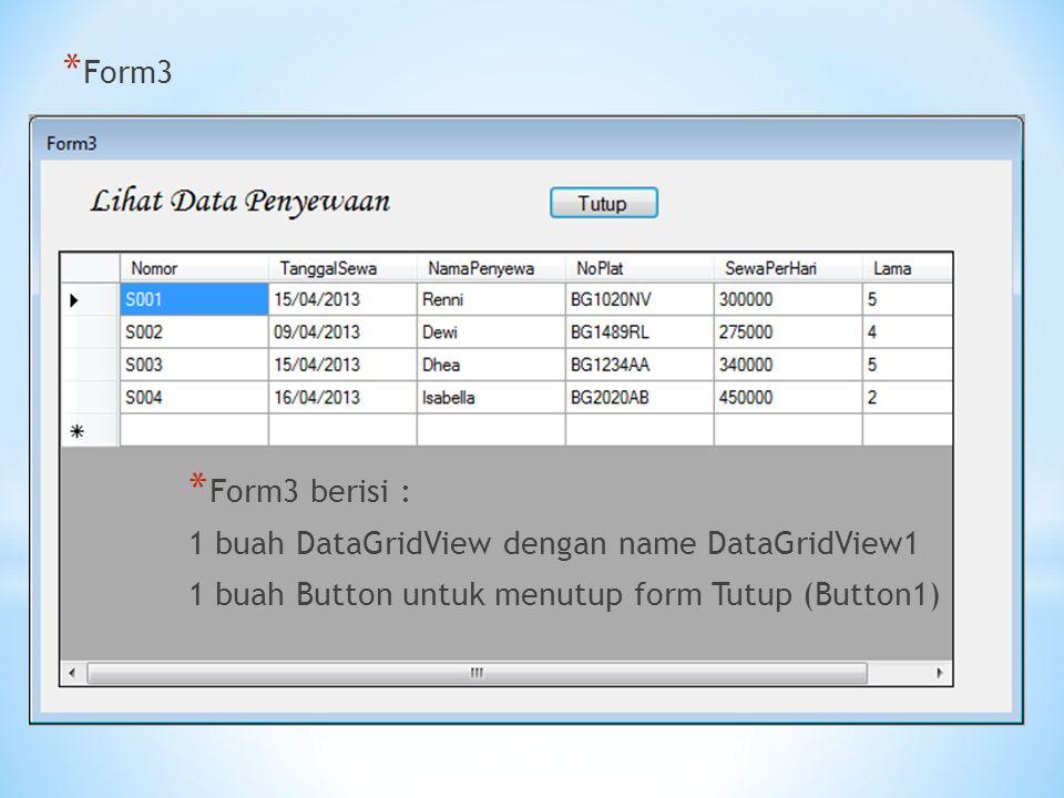 * Form3 * Form3 berisi : 1 buah DataGridView dengan name DataGridView1 1 buah Button untuk menutup form Tutup (Button1)