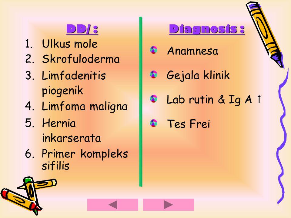 DD/ : 1.Ulkus mole 2.Skrofuloderma 3.Limfadenitis piogenik 4.Limfoma maligna 5.Hernia inkarserata 6.Primer kompleks sifilis Diagnosis : Anamnesa Gejal