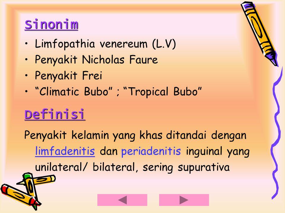 Epidemiologi Tropis/ subtropis Indonesia musim hujan >> ♂ > ♀ Etiologi Chlamydia trachomatis Serotype L 1, L 2, L 3 Dulu virus besar Sekarang golongan bakteri (ATP - ) Serotipe : D – K  NSU A – C  Trachoma