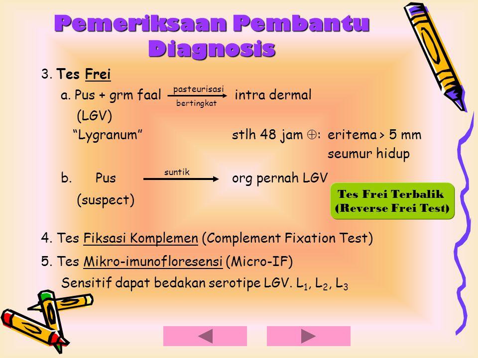 """Pemeriksaan Pembantu Diagnosis 3. Tes Frei a. Pus + grm faal pasteurisasi intra dermal (LGV) """"Lygranum""""stlh 48 jam  : eritema > 5 mm seumur hidup b."""