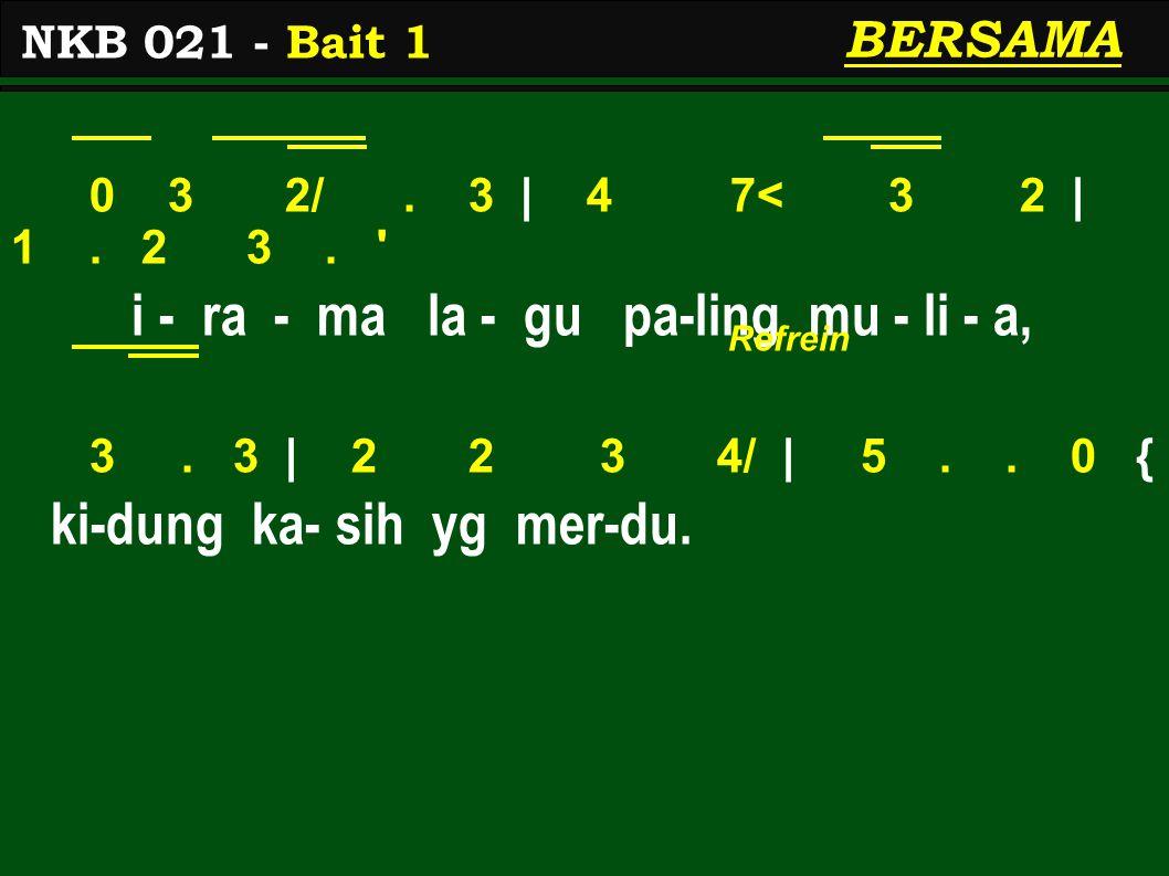 0 3 2/. 3 | 4 7< 3 2 | 1. 2 3. i - ra - ma la - gu pa-ling mu - li - a, 3.