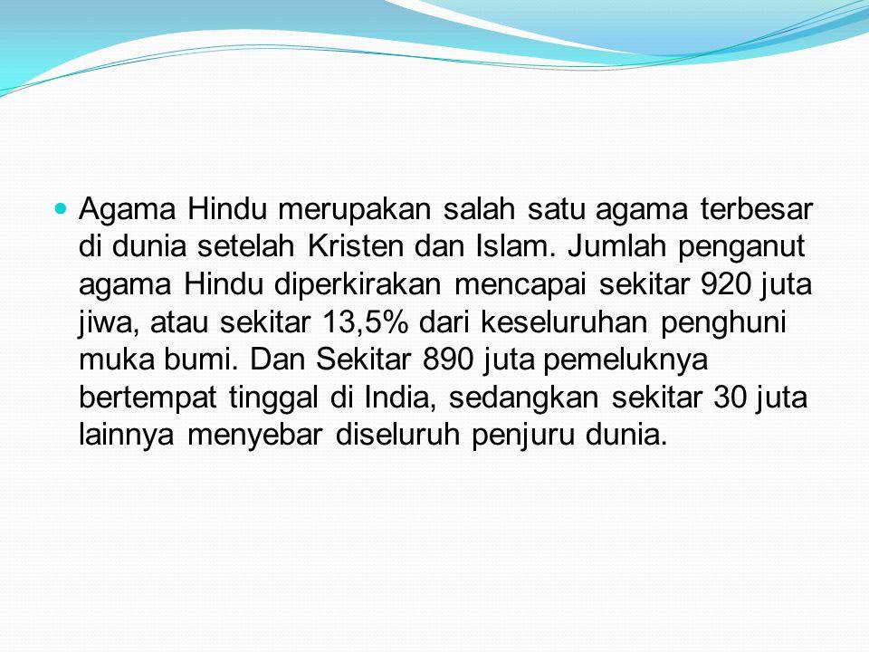 Agama Hindu merupakan salah satu agama terbesar di dunia setelah Kristen dan Islam. Jumlah penganut agama Hindu diperkirakan mencapai sekitar 920 juta