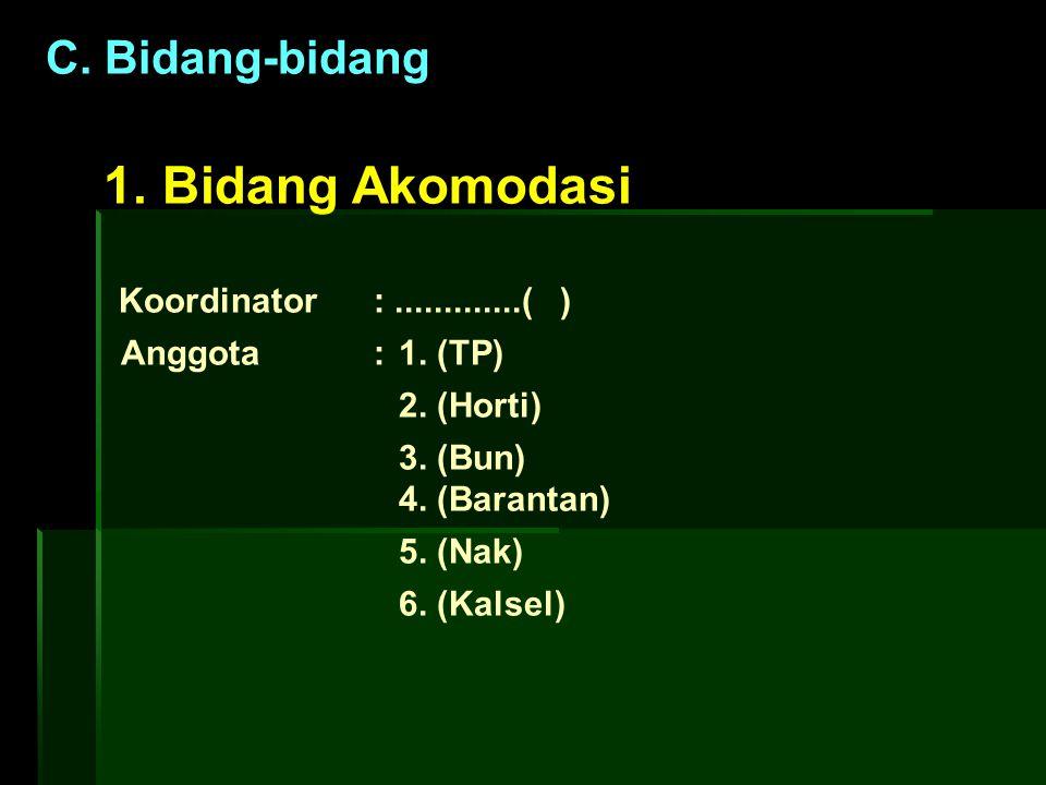 C. Bidang-bidang 1. Bidang Akomodasi Koordinator:.............( ) Anggota: 1. (TP) 2. (Horti) 3. (Bun) 4. (Barantan) 5. (Nak) 6. (Kalsel)