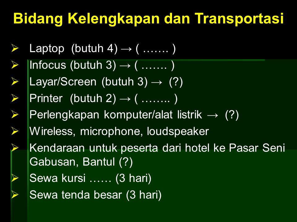 Bidang Kelengkapan dan Transportasi  Laptop (butuh 4) → ( ……. )  Infocus (butuh 3) → ( ……. )  Layar/Screen (butuh 3) → (?)  Printer (butuh 2) → (
