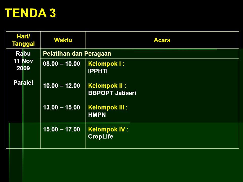 Hari/ Tanggal WaktuAcara Rabu 11 Nov 2009 Paralel Pelatihan dan Peragaan 08.00 – 10.00 10.00 – 12.00 13.00 – 15.00 15.00 – 17.00 Kelompok I : IPPHTI K