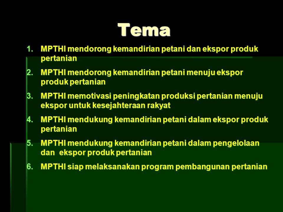Tema 1.MPTHI mendorong kemandirian petani dan ekspor produk pertanian 2.MPTHI mendorong kemandirian petani menuju ekspor produk pertanian 3.MPTHI memo
