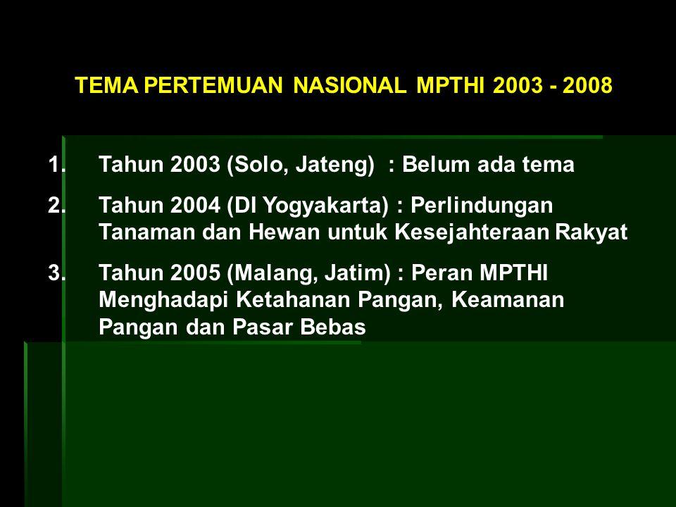 1. Tahun 2003 (Solo, Jateng) : Belum ada tema 2. Tahun 2004 (DI Yogyakarta) : Perlindungan Tanaman dan Hewan untuk Kesejahteraan Rakyat 3. Tahun 2005
