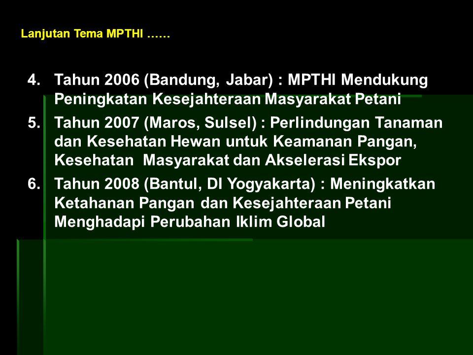 4. Tahun 2006 (Bandung, Jabar) : MPTHI Mendukung Peningkatan Kesejahteraan Masyarakat Petani 5. Tahun 2007 (Maros, Sulsel) : Perlindungan Tanaman dan