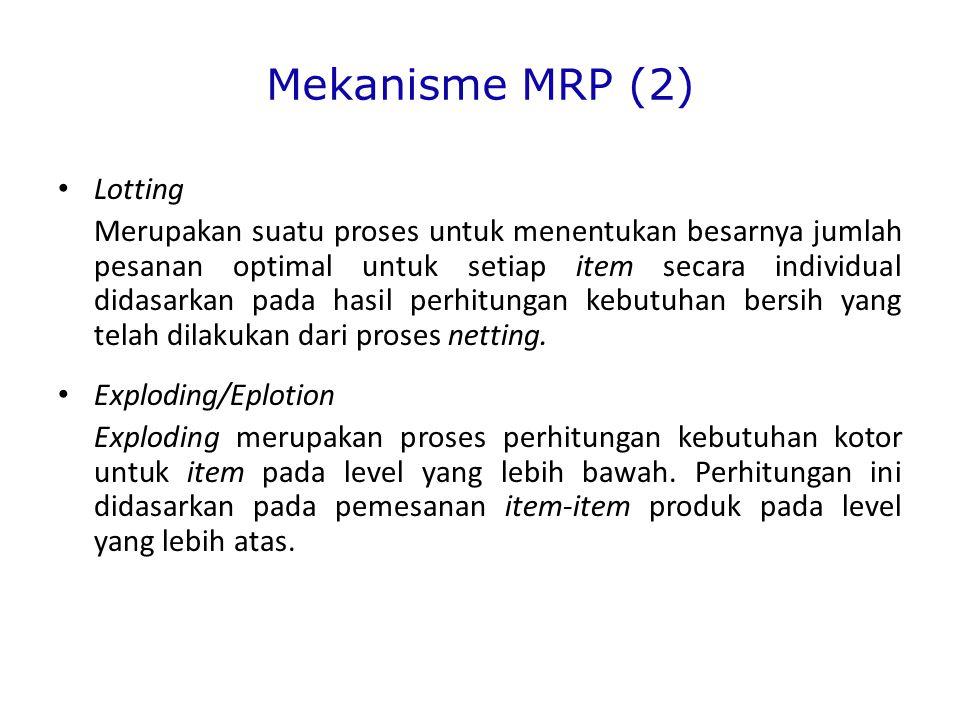 Mekanisme MRP (2) Lotting Merupakan suatu proses untuk menentukan besarnya jumlah pesanan optimal untuk setiap item secara individual didasarkan pada hasil perhitungan kebutuhan bersih yang telah dilakukan dari proses netting.