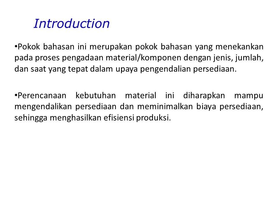 Introduction Pokok bahasan ini merupakan pokok bahasan yang menekankan pada proses pengadaan material/komponen dengan jenis, jumlah, dan saat yang tepat dalam upaya pengendalian persediaan.