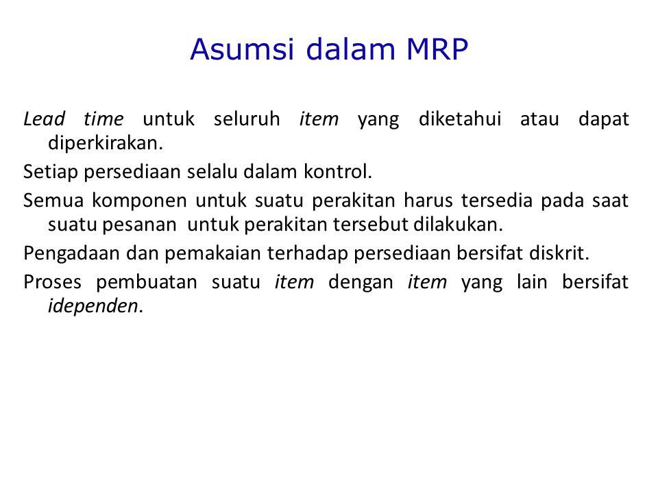 Asumsi dalam MRP Lead time untuk seluruh item yang diketahui atau dapat diperkirakan.