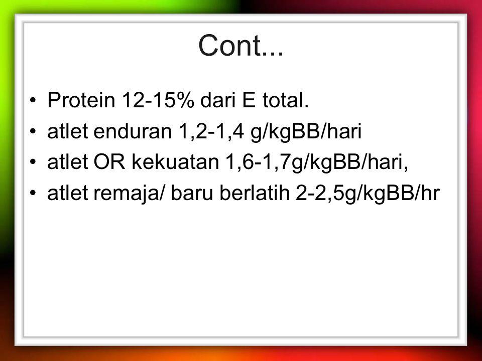 Cont...Protein 12-15% dari E total.