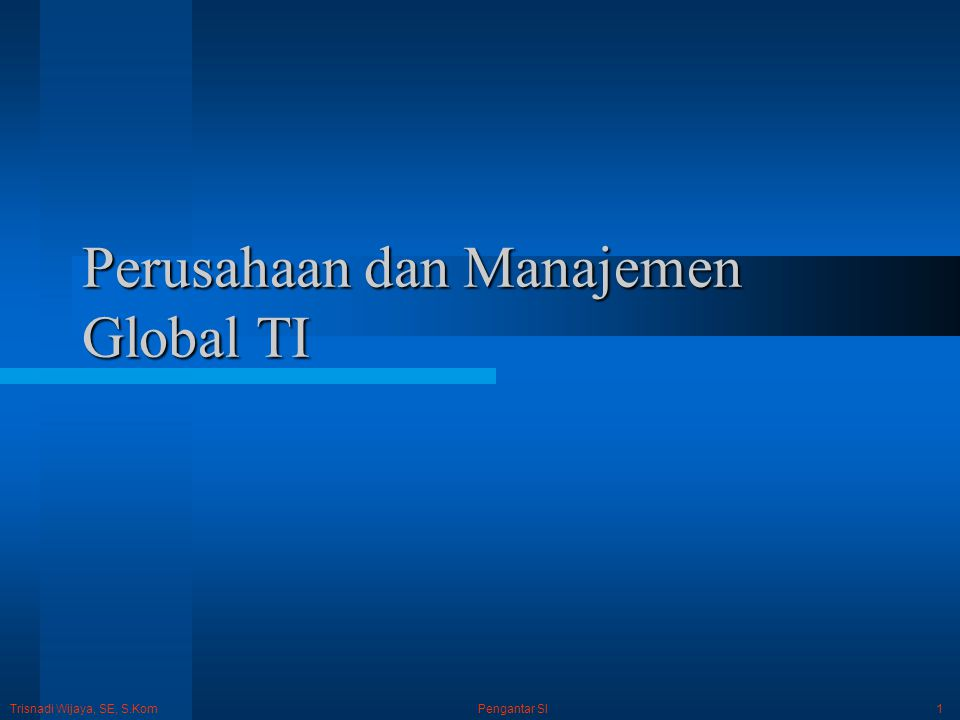 Trisnadi Wijaya, SE, S.Kom Pengantar SI2 Bisnis dan TI TI adalah komponen yang penting dalam keberhasilan bisnis perusahaan sehingga kecenderungan banyak perusahaan di seluruh dunia berkeinginan untuk mengubah dirinya menjadi pembangkit daya bisnis global melalui investasi besar dalam e-business, e-commerce, dan usaha TI lainnya yang global.