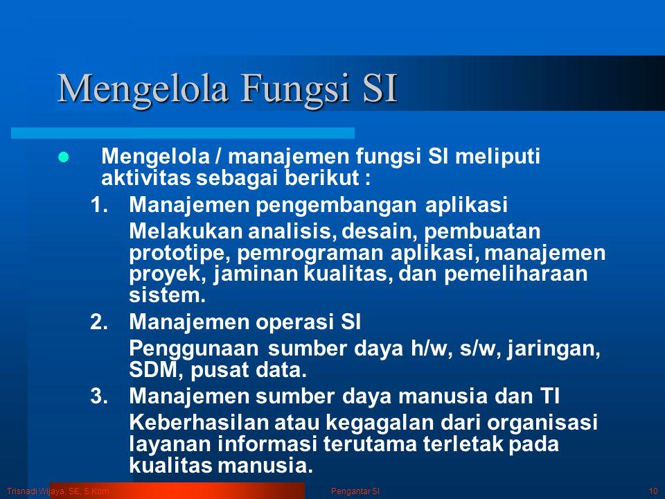 Trisnadi Wijaya, SE, S.Kom Pengantar SI10 Mengelola Fungsi SI Mengelola / manajemen fungsi SI meliputi aktivitas sebagai berikut : 1.Manajemen pengemb