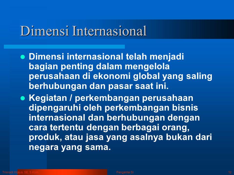 Trisnadi Wijaya, SE, S.Kom Pengantar SI12 Dimensi Internasional Dimensi internasional telah menjadi bagian penting dalam mengelola perusahaan di ekono
