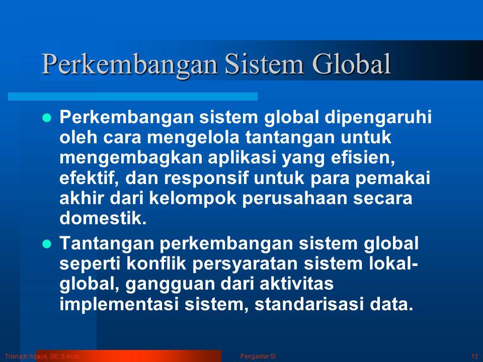 Trisnadi Wijaya, SE, S.Kom Pengantar SI13 Perkembangan Sistem Global Perkembangan sistem global dipengaruhi oleh cara mengelola tantangan untuk mengem