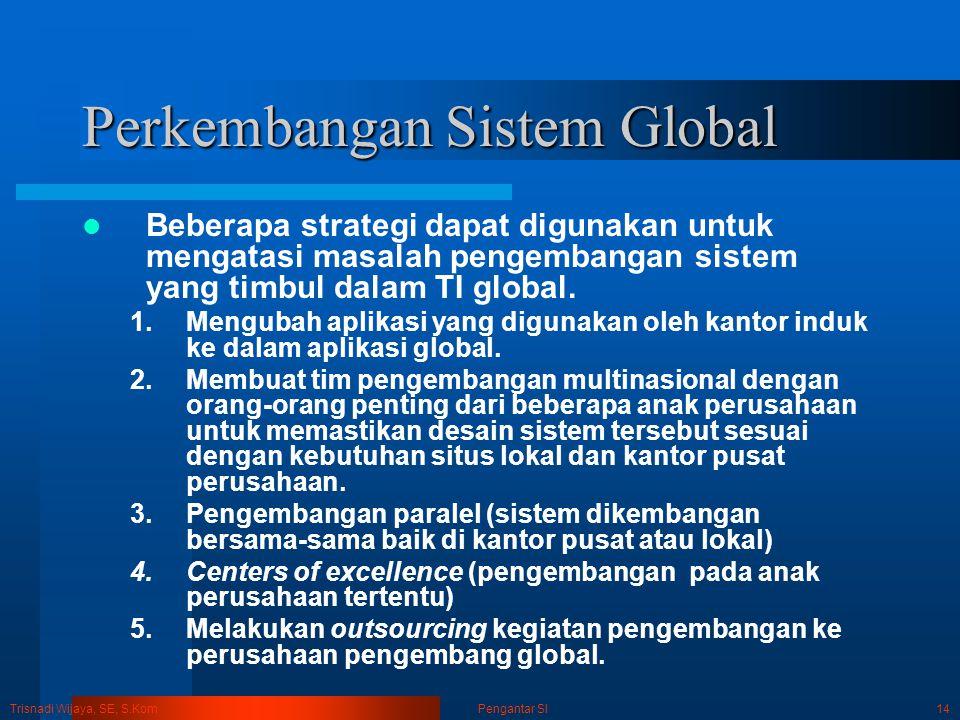 Trisnadi Wijaya, SE, S.Kom Pengantar SI14 Perkembangan Sistem Global Beberapa strategi dapat digunakan untuk mengatasi masalah pengembangan sistem yan