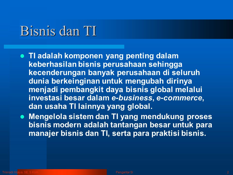 Trisnadi Wijaya, SE, S.Kom Pengantar SI3 Bisnis dan TI CEO & CIOCIO & CTOCIO & Manajer TI