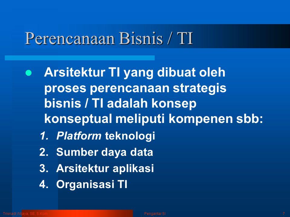 Trisnadi Wijaya, SE, S.Kom Pengantar SI8 Perencanaan Bisnis / TI Perencanaan TI KonvensionalPerencanaan Bisnis / TI Penyesuaian strategis : Jalur strategi TI menspesifikasikan strategi perusahaan.