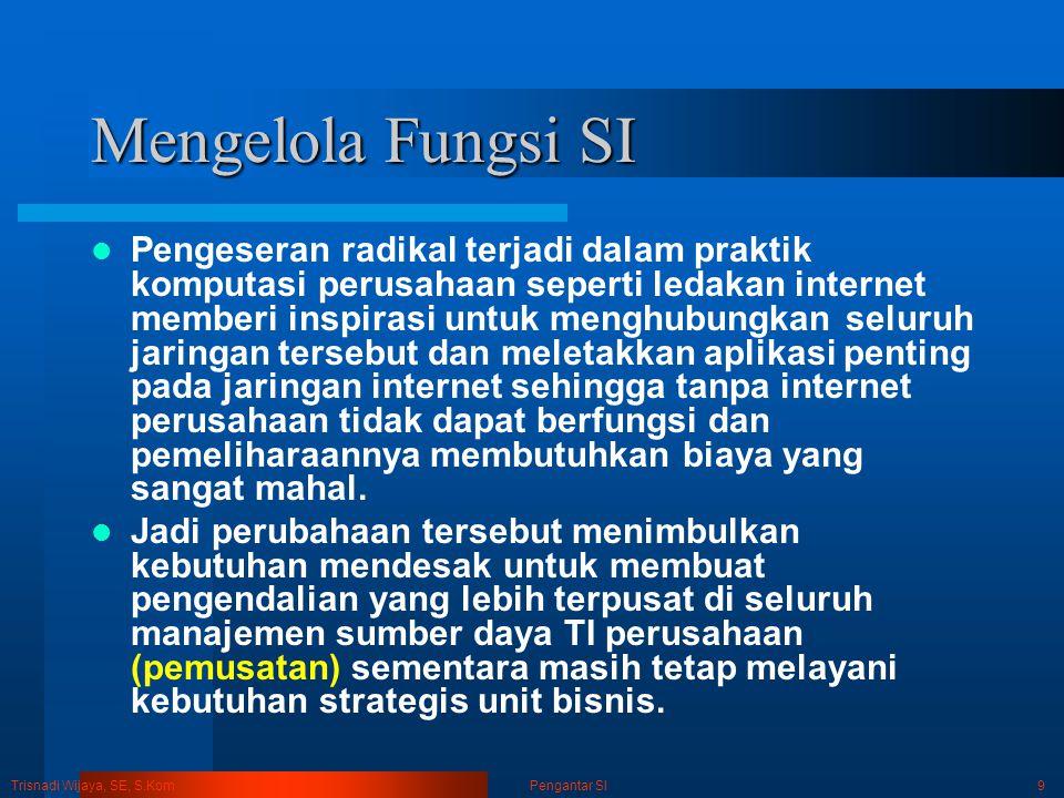 Trisnadi Wijaya, SE, S.Kom Pengantar SI9 Mengelola Fungsi SI Pengeseran radikal terjadi dalam praktik komputasi perusahaan seperti ledakan internet me