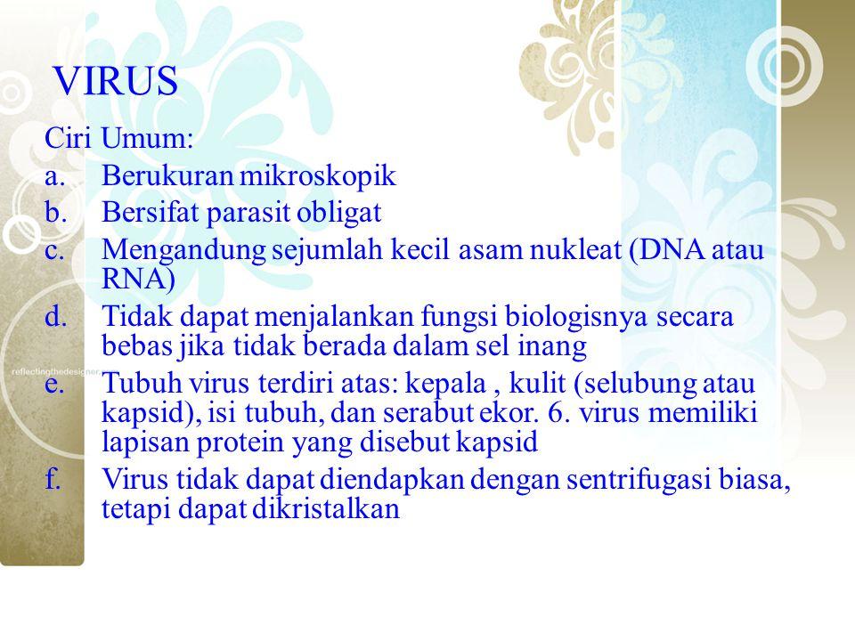 VIRUS Ciri Umum: a.Berukuran mikroskopik b.Bersifat parasit obligat c.Mengandung sejumlah kecil asam nukleat (DNA atau RNA) d.Tidak dapat menjalankan
