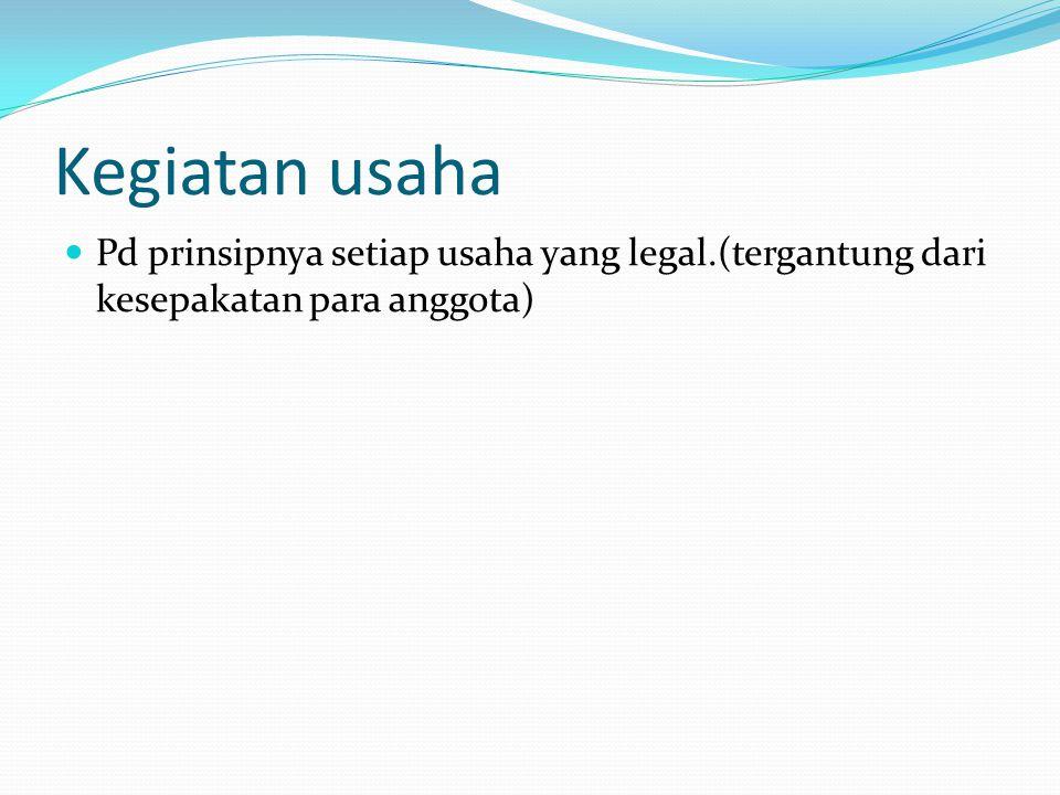 Kegiatan usaha Pd prinsipnya setiap usaha yang legal.(tergantung dari kesepakatan para anggota)