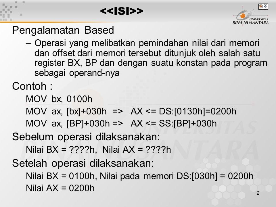 9 > Pengalamatan Based –Operasi yang melibatkan pemindahan nilai dari memori dan offset dari memori tersebut ditunjuk oleh salah satu register BX, BP dan dengan suatu konstan pada program sebagai operand-nya Contoh : MOV bx, 0100h MOV ax, [bx]+030h => AX <= DS:[0130h]=0200h MOV ax, [BP]+030h => AX <= SS:[BP]+030h Sebelum operasi dilaksanakan: Nilai BX = ????h, Nilai AX = ????h Setelah operasi dilaksanakan: Nilai BX = 0100h, Nilai pada memori DS:[030h] = 0200h Nilai AX = 0200h