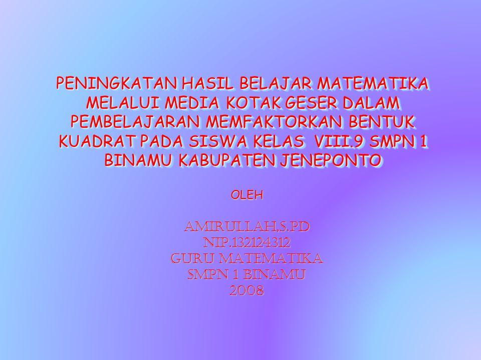 PENINGKATAN HASIL BELAJAR MATEMATIKA MELALUI MEDIA KOTAK GESER DALAM PEMBELAJARAN MEMFAKTORKAN BENTUK KUADRAT PADA SISWA KELAS VIII.9 SMPN 1 BINAMU KABUPATEN JENEPONTO OLEHAMIRULLAH,S.Pd NIP.132124312 GURU MATEMATIKA SMPN 1 BINAMU 2008