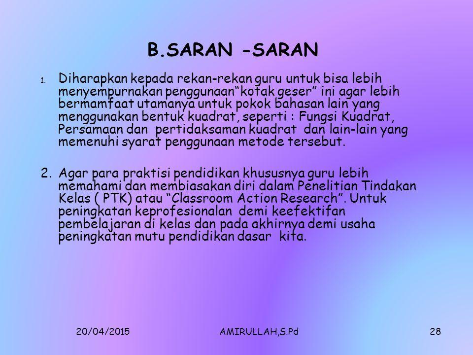 20/04/2015AMIRULLAH,S.Pd27 BAB V.SIMPULAN DAN SARAN A.