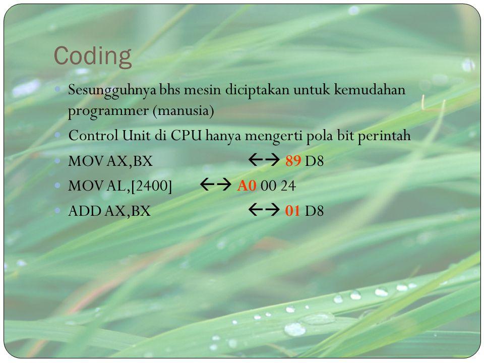 Coding Sesungguhnya bhs mesin diciptakan untuk kemudahan programmer (manusia) Control Unit di CPU hanya mengerti pola bit perintah MOV AX,BX  89 D8