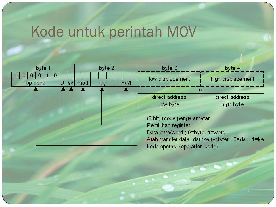 Kode untuk perintah MOV