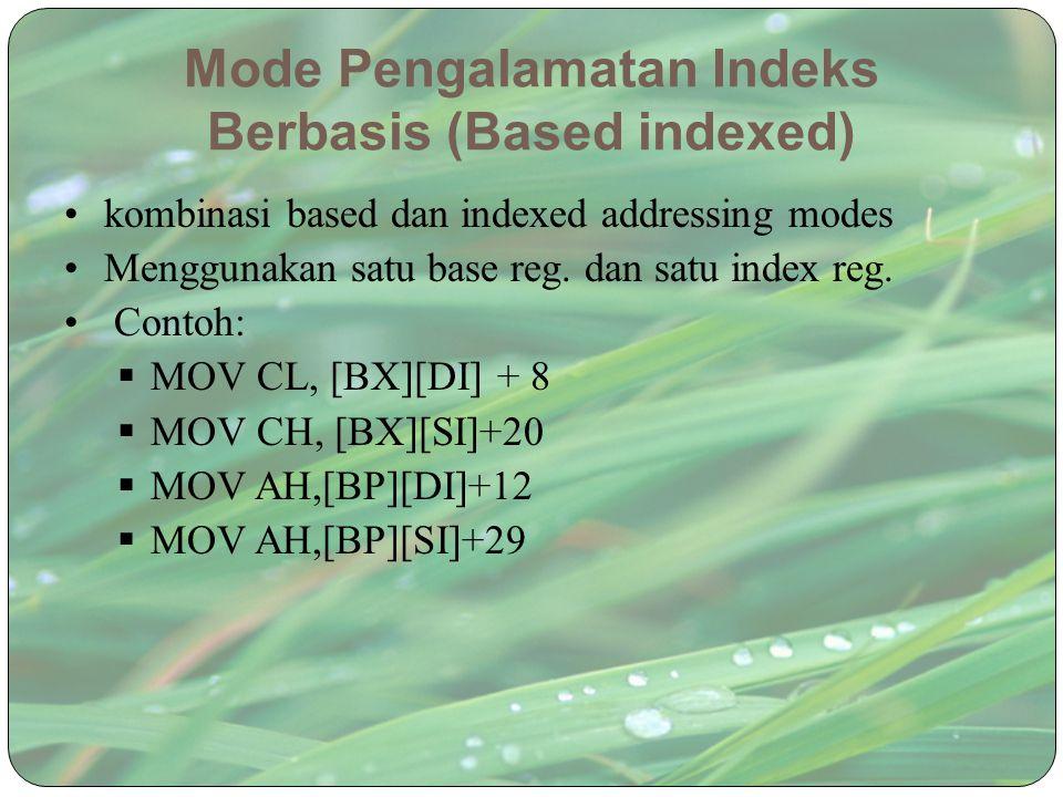 Mode Pengalamatan Indeks Berbasis (Based indexed) kombinasi based dan indexed addressing modes Menggunakan satu base reg. dan satu index reg. Contoh: