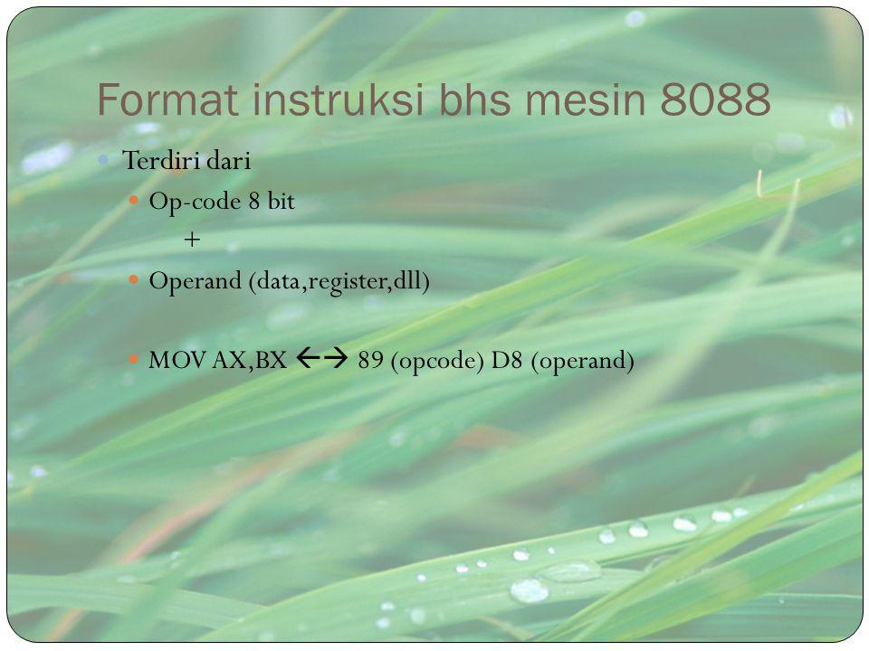 Format instruksi bhs mesin 8088 Terdiri dari Op-code 8 bit + Operand (data,register,dll) MOV AX,BX  89 (opcode) D8 (operand)