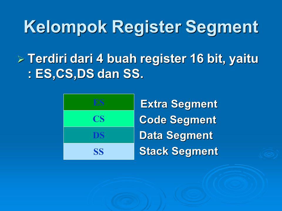 Kelompok Register Segment  Terdiri dari 4 buah register 16 bit, yaitu : ES,CS,DS dan SS. Extra Segment Extra Segment Code Segment Code Segment Data S