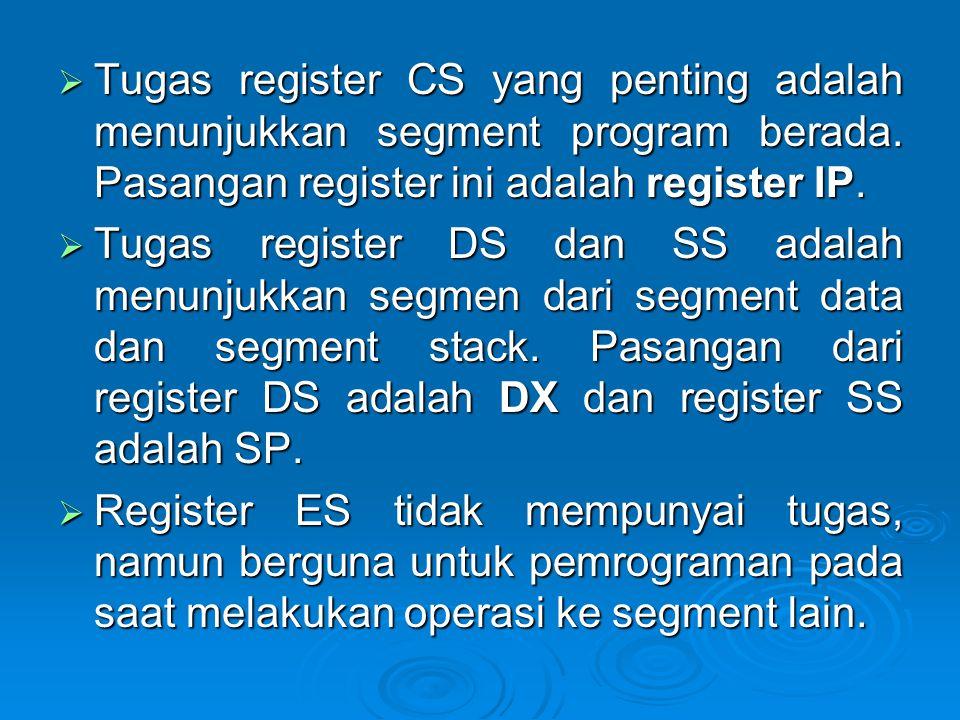  Tugas register CS yang penting adalah menunjukkan segment program berada. Pasangan register ini adalah register IP.  Tugas register DS dan SS adala