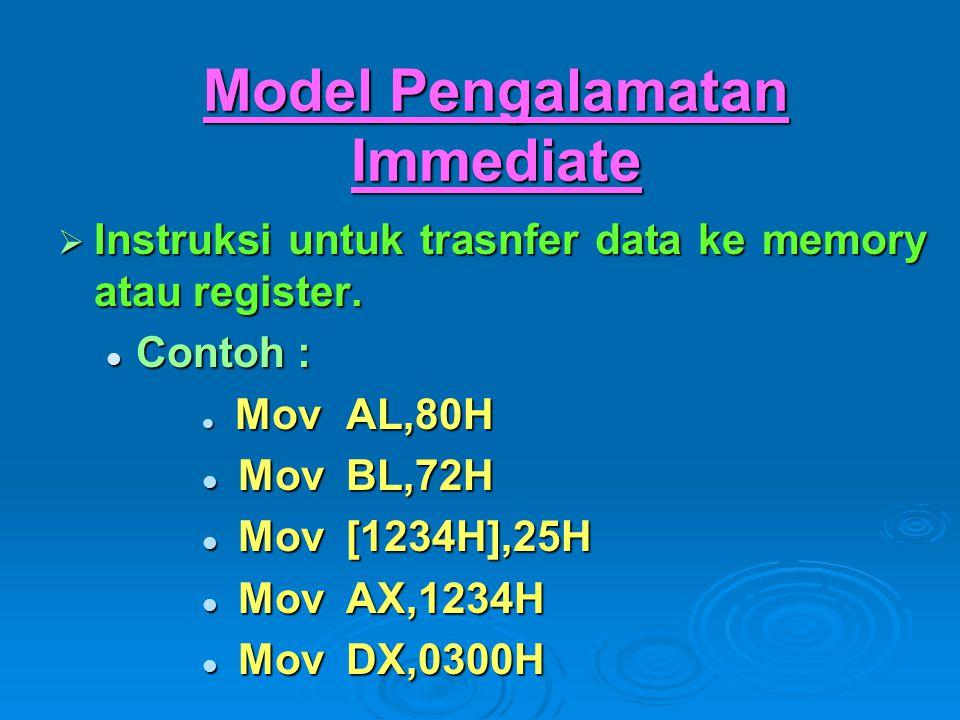 Model Pengalamatan Immediate  Instruksi untuk trasnfer data ke memory atau register. Contoh : Contoh : MovAL,80H MovAL,80H MovBL,72H MovBL,72H Mov[12
